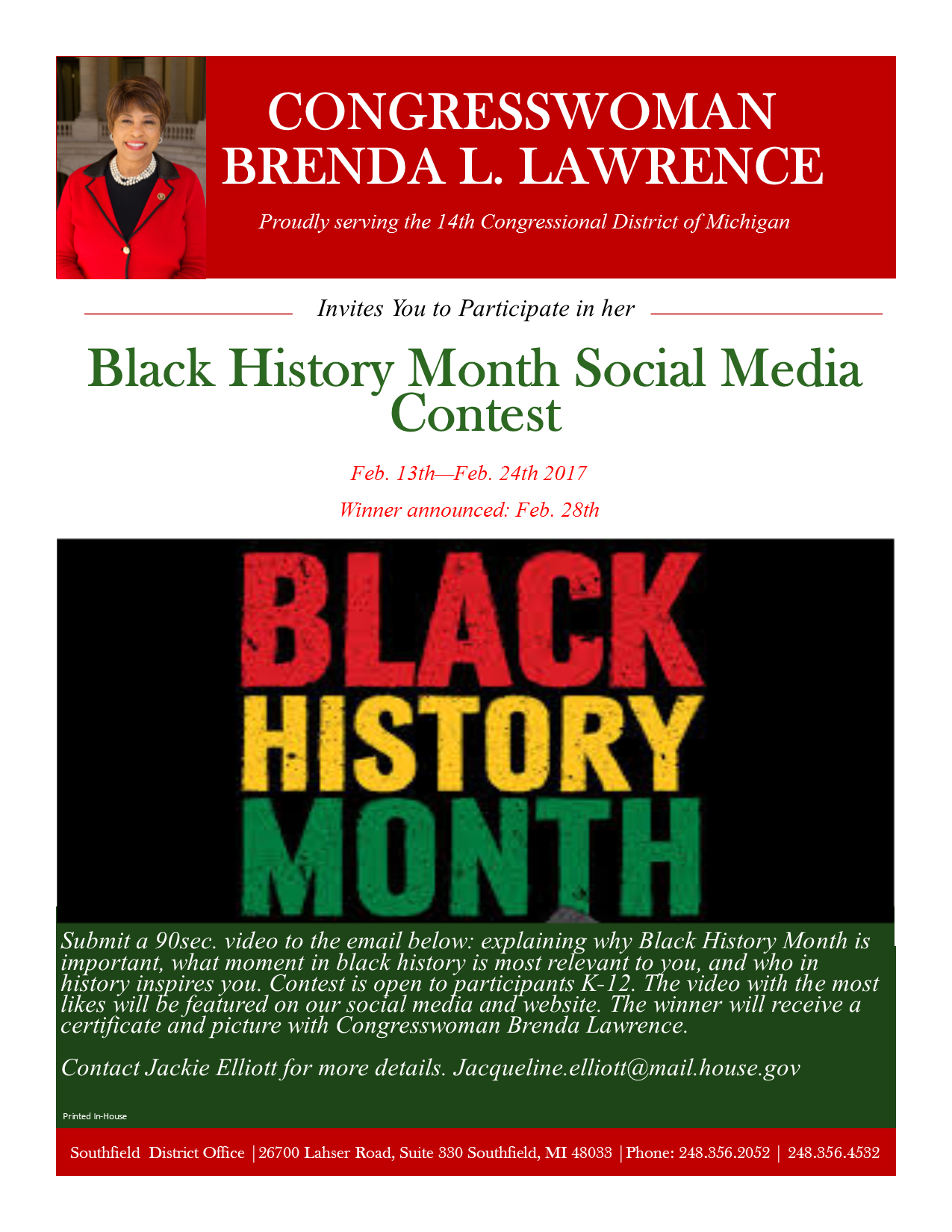 Black History Month Competition Flyer